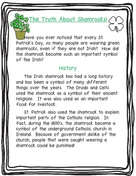 The Truth About Shamrocks!  Nonfiction Article - Read to Learn!