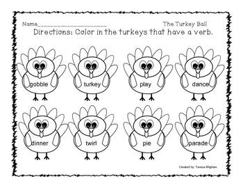 The Turkey Ball Literacy Activities