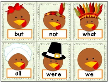 Thanksgiving Games & Activities FRY'S 1st 100 & HIGH FREQUENCY WORDS