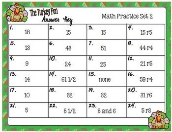 The Turkey Pen Task Cards -  Math Skills:  Mean, Median, Mode Range, Set 2