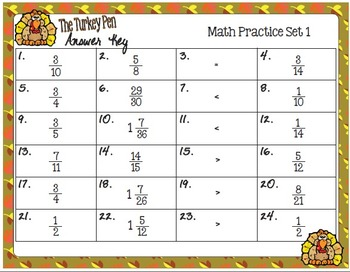 The Turkey Pen Task Cards -  Math Skills Practice, Fractions, Set 1