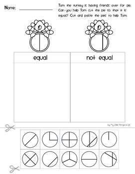 The Turkey Pie Math worksheets for Thanksgiving