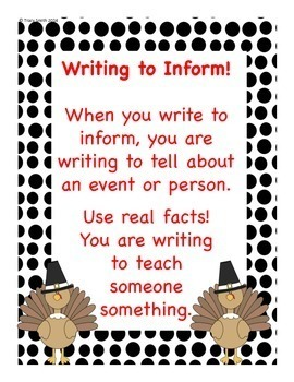 The Turkey Times - Writing to Inform!  Thanksgiving Activity