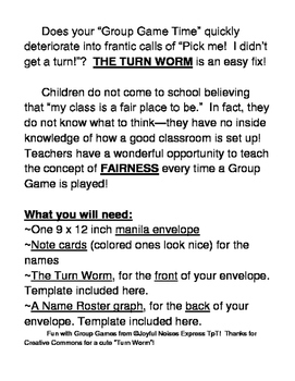 """The Turn Worm!"" -- Take Turns for Games the Fair Way!"