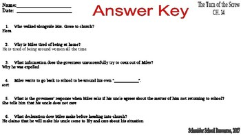 The Turn of the Screw Reading Comprehension Quiz: Chapter 14 and 15