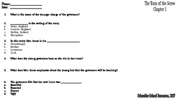 The Turn of the Screw Reading Comprehension Quiz: Prologue/CH  1