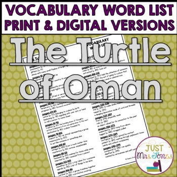 The Turtle of Oman Vocabulary Word List