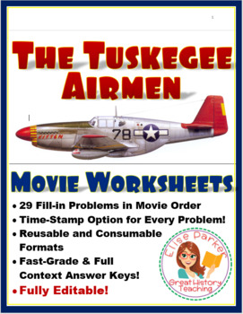 The Tuskegee Airmen - Movie Cloze (FIll-in) Worksheets