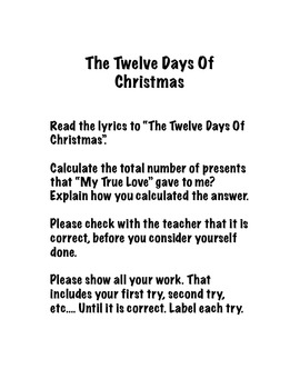 The Twelve Days Of Christmas Activity