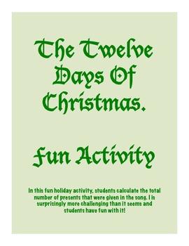 The Twelve Days Of Christmas Activity