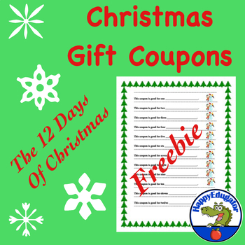 Free Gift Coupons - The Twelve Days of Christmas