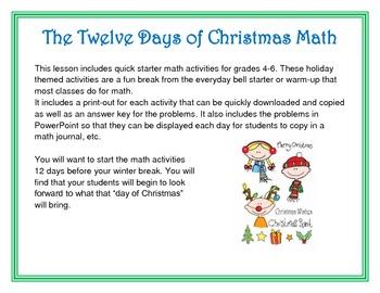 The Twelve Days of Christmas Math/Holiday
