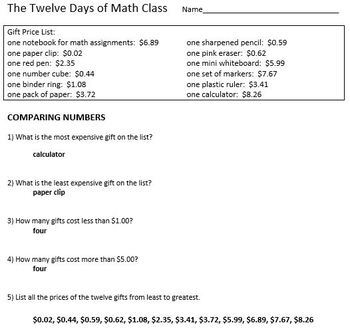 The Twelve Days of Math Class - Grades 4 - 7