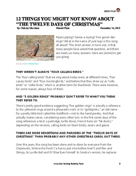 The Twelve Days of My Holiday/Christmas Activity Pack (inclusive)