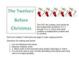 The Twelves Before Christmas Multiplication- Wrist Bands