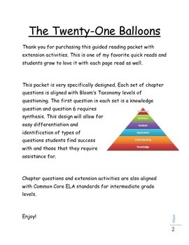 The Twenty-One Balloons - Guided Reading Questions