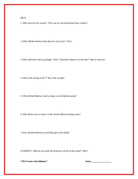 """The Twenty-One Balloons"", by W. Pene du Bois, Comp. Questions"