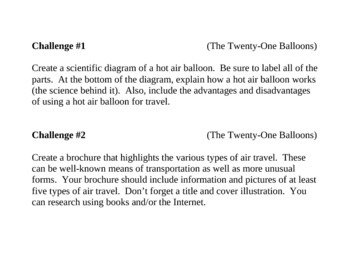 """""""The Twenty-One Balloons"""", by W. du Bois, Challenges"""