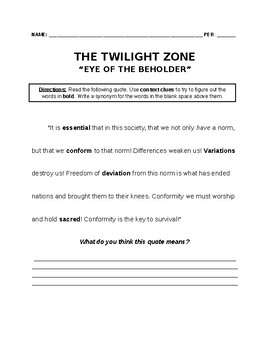 The Twilight Zone: Eye of the Beholder