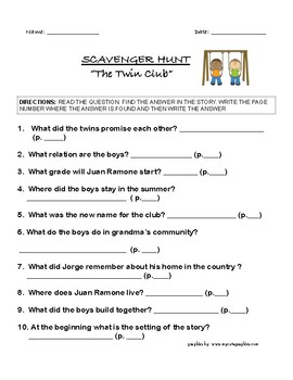 The Twin Club Pack -  10 Important Sentences / Scavenger Hunt