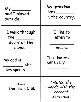 The Twin Club, Reading Street High Frequency Words