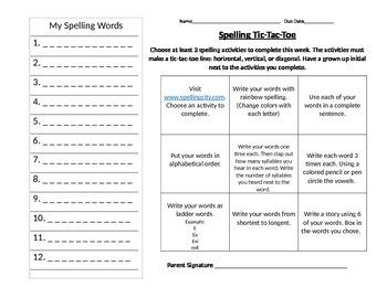 The Twin Club Spelling Tic-Tac-Toe