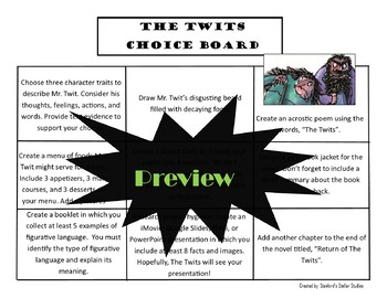 The Twits Choice Board Novel Study Activities Menu Book Project Rubric