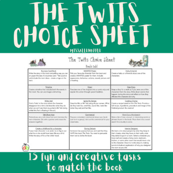 The Twits Choice Sheet - Book Reflection - Multiple Activities