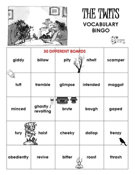 The Twits Vocabulary Bingo