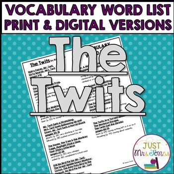 The Twits Vocabulary Word List