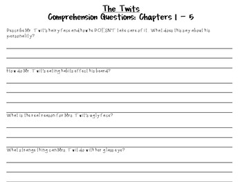 The Twits by Roald Dahl:  A Complete Novel Study!