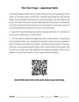 The Two Frogs Japanese Fable QR and Comprehension Questions