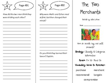 The Two Merchants Trifold - 4th Grade Literacy by Design Theme 14