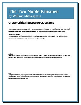 The Two Noble Kinsmen - Shakespeare - Group Critical Response Questions