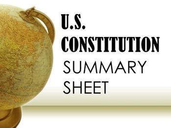 The U.S. Constitution Summary Sheet