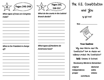 The U.S. Constitution and You Trifold - Imagine It 4th Grade Unit 3 Week 1