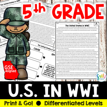 The U.S. in World War I Reading and Writing Activity (SS5H2b)