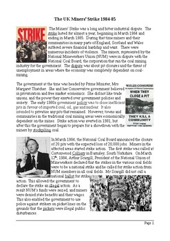 The UK Miners' Strike - Reading Comprehension with Differentiated Activities