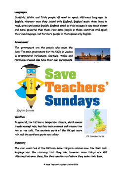 The UK / United Kingdom Lesson plan, Information text and Comprehension Qs
