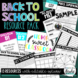 Back to School Resource Pack!   EDITABLE OPTIONS!   BUNDLED RESOURCES!