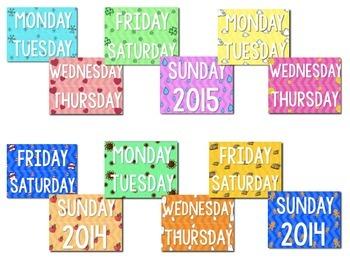 Calendar Set - Bright Colors