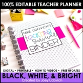 Editable Teacher Binder: Black & White With Pops of Color Theme {FREE UPDATES}
