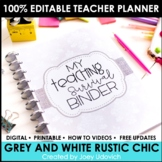 Editable Teacher Binder: Grey & White Chevron with Pops of Color {FREE UPDATES}