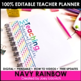 Editable Teacher Binder: Navy Rainbow Theme {FREE UPDATES}