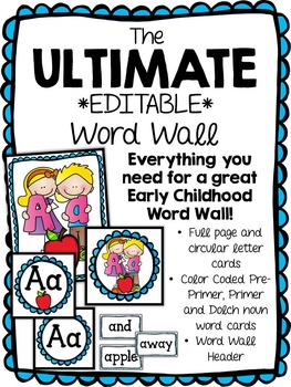 The ULTIMATE *Editable* Word Wall - Dolch Pre-Primer, Primer and Nouns words