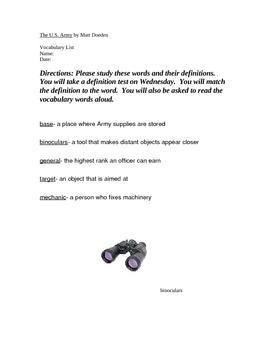 The U.S. Army by Matt Doeden Vocabulary Practice Sheet