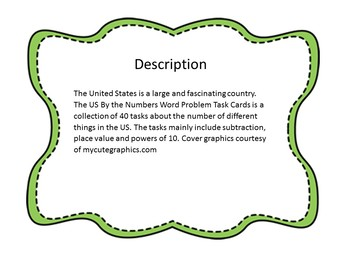 The US By the Numbers Word Problem Task Cards