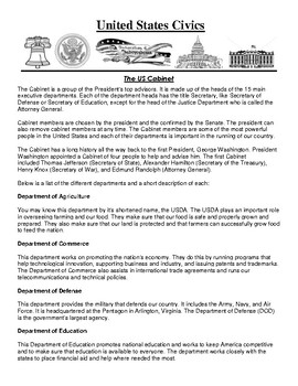 The US Cabinet Civics Article and Assignment