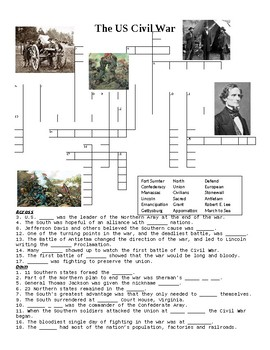 The US Civil War Crossword Puzzle or Web Quest
