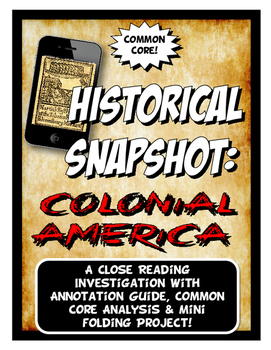 The US Colonies Historical Snapshot Close Reading & Folding Activity